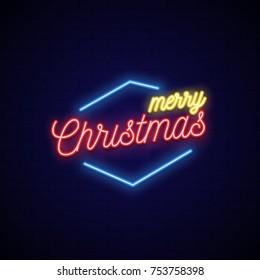 Neon signboard. Bright christmas neon banner. Christmas party billboard. Vector Illustration.