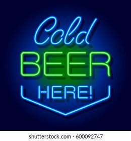 Neon signboard Cold Beer Here. Vector illustration.