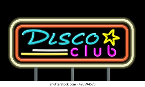 Neon signboard disco club design flat style. Signboard template for establishments working at night. Neon light disco night club with electric glow lamp frame and color text, vector illustration