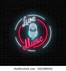 Neon signboard with microphone in round frame. Nightclub with live music icon. Glowing street sign of bar with karaoke. Sound cafe icon. Rock show poster. Vector illustration.