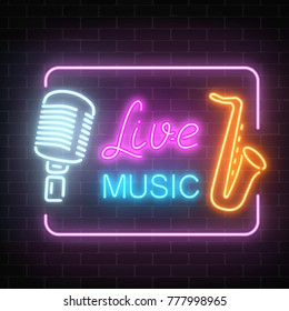 Neon signboard of nightclub with live music. Glowing street sign of bar with karaoke and live singers. Sound cafe icon with frame. Vector illustration.