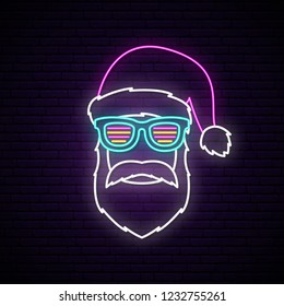 Neon signboard with Santa Claus portrait. Christmas vector design.