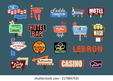 Neon signboards, billboards, light boxes and banners set of vector Illustrations