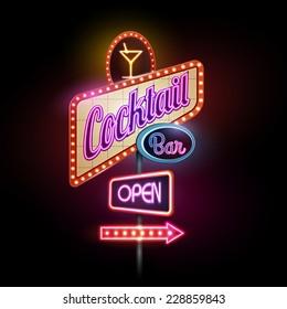 neon sign.Cocktail bar