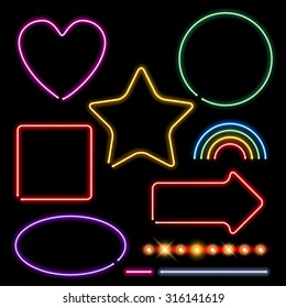 Neon signs set vector illustration - assorted forms and light bulbs border. Heart circle square star rainbow arrow designs.