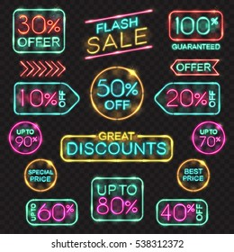 Neon signs set. Vector price tags, labels for promotion, sales banner, offers, shop price, frames in neon lights style.