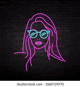 neon silhouette of a beautiful girl in glasses vector illustration