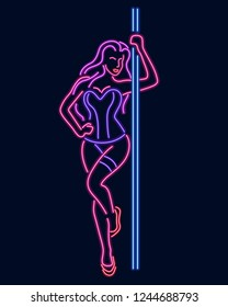 Neon silhouette of a girl at a pylon isolated on a dark background.