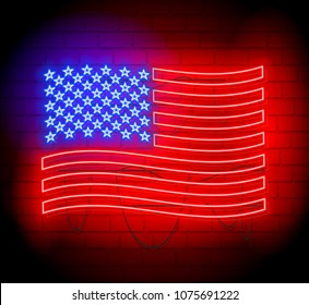Neon silhouette  of United States of America flag. Brickwall as background.