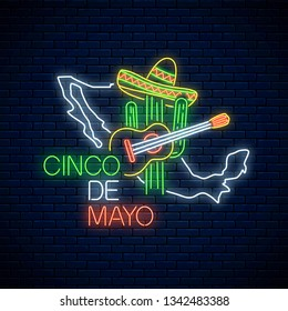 Neon sinco de mayo sign with mexico map on dark brick wall background. Mexican festival flyer design with guitar, cactus and sombrero hat. Vector illustration.