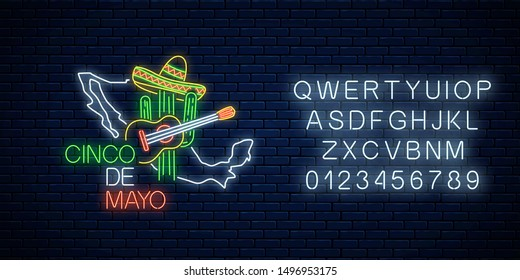 Neon sinco de mayo sign with mexico map with alphabet on dark brick wall background. Mexican festival flyer design with guitar, cactus and sombrero hat. Vector illustration.