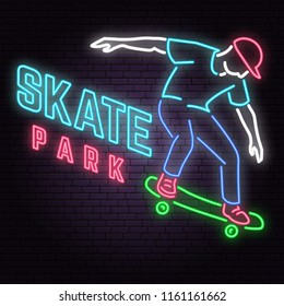 Neon skate park sign on brick wall background. Vector illustration. Neon design for skate park emblems, gym signs related health and gym business. Night bright advertisement with skateboarder