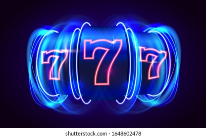 Neon slot machine coins wins the jackpot. 777 Big win casino concept. Vector illustration