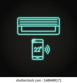 Neon Smart Klimaanlage Symbol im Linienstil. Interner Klimaanlage mit Smartphone-Steuerung. Vektorillustration.