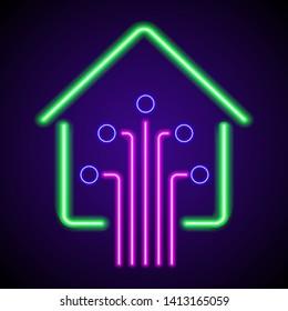 neon smart home icon, modern technology on purple background
