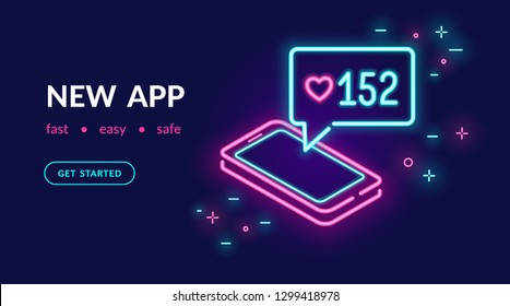 Neon social media app for chatting, following and sharing memes. Bright vector neon light website banner template or landing page design of smartphone with speech bubble and message in social networks