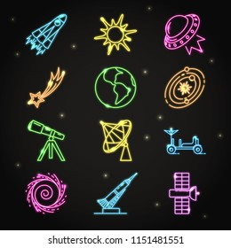 Neon space icons set in thin line style