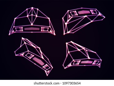 Neon space ships set of attacking invaders or defending fighters with 80s retro arcade game style and laser geometric contour. Shiny silhouette on dark background