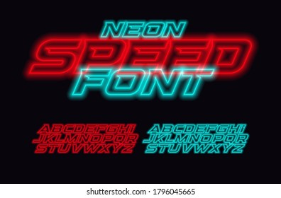 Neon Speed letters set. Red and blue race font. Cyberpunk Italic bold style vector alphabet. Fonts for event, promo, logo, banner, monogram and poster. Racing Typeset design