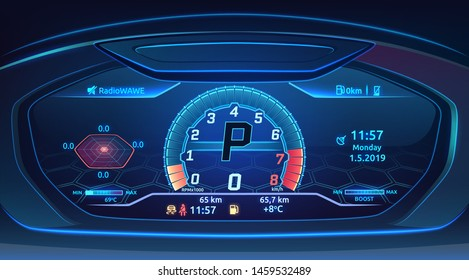 Neon sport car, supercar dashboard with speedometer, modern automobile control panel design, fashionable neon tech background vector illustration
