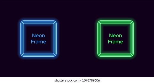 Neon square frame in blue and green color. Vector template of neon frame consisting of three outlines, with soft backlight on the dark background