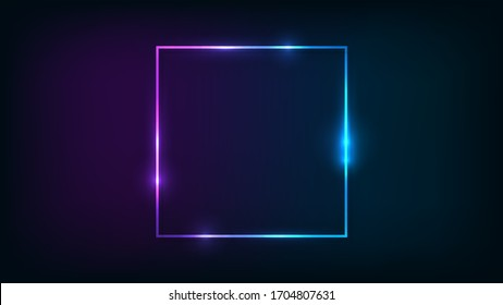 Neon square frame with shining effects on dark background. Empty glowing techno backdrop. Vector illustration.