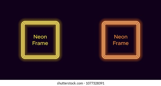 Neon square frame in yellow and orange color. Vector template of neon frame consisting of three outlines, with soft backlight on the dark background