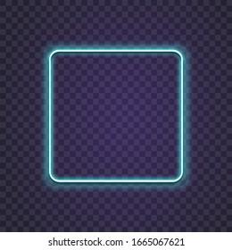 Neon square. Glow frame border. Glossy rectangle on wall. Vector neon shape. Blue light lamp. 3D luminous shine