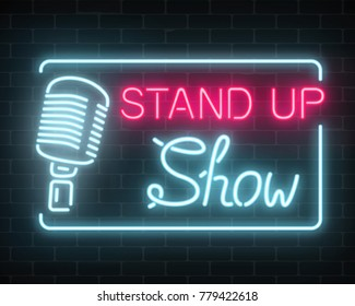 Neon stand up show sign with retro microphone on a brick wall background. Comedy battle glowing signboard. Vector illustration.