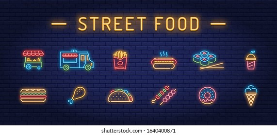 Neon street food icon set. Vector fastfood sign collection. Glowing take away pictogram illustrations in line style. Simple signs for cafe, delivery, stall, stand, vendor
