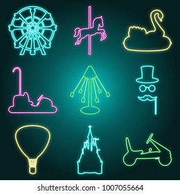 Neon style amusement park icon set - ferris wheel, inflatable swan. carousel, horse, crnival mask, air balloon, castle, bumper car and electromobile. Fun fair symbols. Vector illustration.