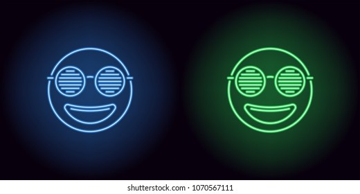 Neon stylish emoji in blue and green color. Vector illustration of neon emoji with club round glasses, with backlight on the dark background