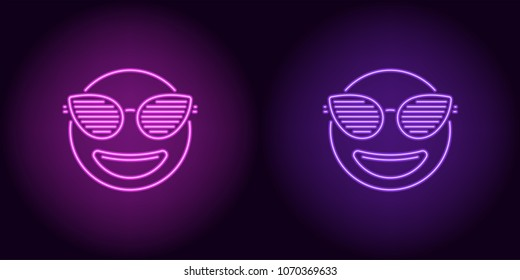 Neon stylish emoji in purple and violet color. Vector illustration of neon emoji with fashionable club glasses, with backlight on the dark background