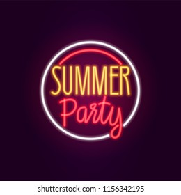 Neon summer party Icon sign. Glowing light banner. Night bright signboard. Summer logo, fashion emblem. Club Bar concept on dark background. Editable vector.