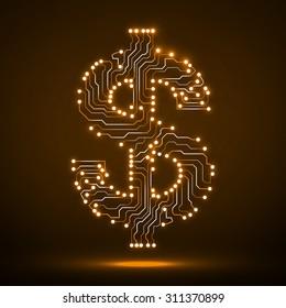 Neon symbol of dollar. Circuit board. Vector illustration. Eps 10