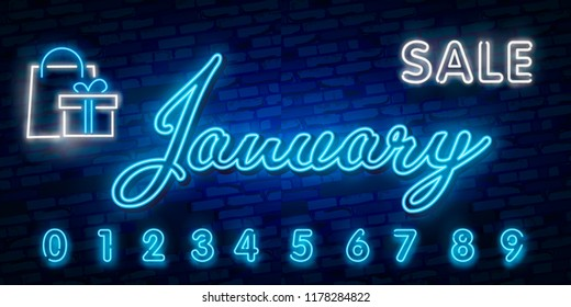 Neon symbol for January : Month Name with colorful elements : Vector Illustration. Glowing neon sign, bright glowing advertising, sales discounts