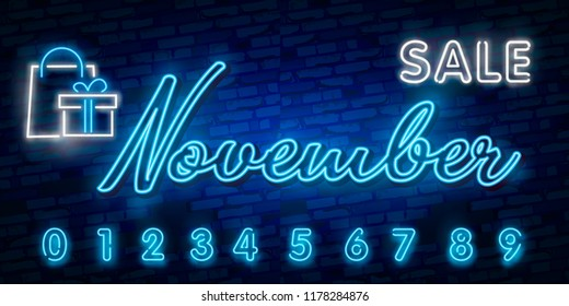 Neon symbol for November : Month Name with colorful elements : Vector Illustration. Glowing neon sign, bright glowing advertising, sales discounts