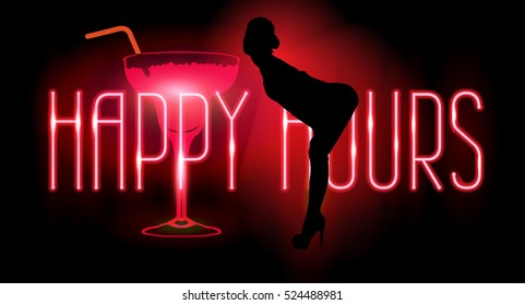 Neon text. Happy hours. Cocktail. Vector image