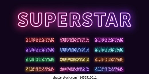 Neon text Superstar, expressive Title. Set of glowing word Superstar in Neon outline style with transparent backlight. Vector kit, red pink purple violet blue azure green yellow orange colors