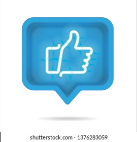 Neon Thumb up, Like with on and off tubes in 3D speech bubble, vector illustration