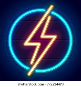 Neon thunderbolt on a signboard. Logo on dark background. Yellow lightning bolt in blue circle. Eps10 vector