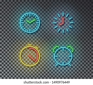 Neon time signs vector isolated on brick wall. Timer, clock, stopwatch, alarm light symbol, decoration effect. Neon clock illustration.