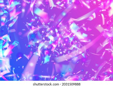 Neon Tinsel. Light Glitter. Iridescent Glare. Metal Element. Purple Laser Background. Blur Christmas Gradient. Fantasy Art. Digital Foil. Pink Neon Tinsel