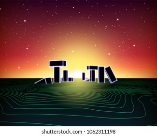 Neon topographic grid landscape with 80s retro wave game style, ancient stone ruins with neon lights and sunset for party posters