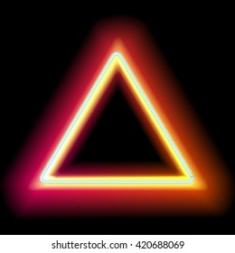 Neon triangle. Neon red light. Vector electric frame. Vintage frame. Retro neon lamp.