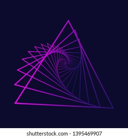 Neon triangle with a spiral.