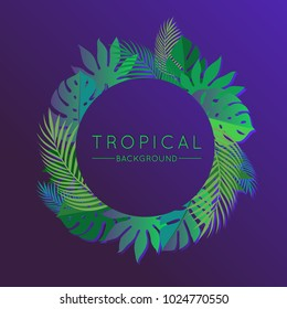 Neon Tropical Party Summer Background with Exotic Palm Plants and Leaves. Vector Floral Illustration for Use in Design