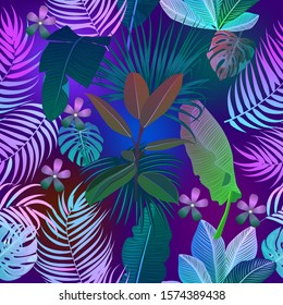 Neon tropical vector seamless pattern of monstera, flowers, tropical leaves of palm tree in fluorescent violet, pink, blue, yellow and green colors.