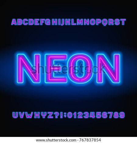 neon tube alphabet font blue and pink color bold letters and numbers stock vector