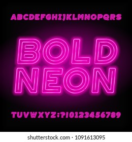 Neon tube alphabet font. Neon color bold letters, numbers and symbols. Stock vector typeface for your design.